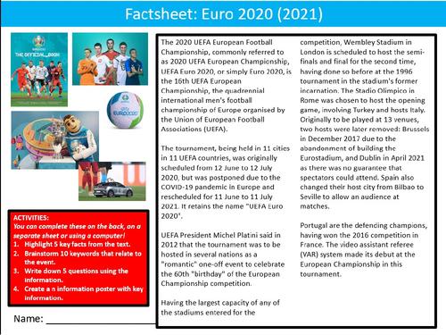 Football Euro 2020 (2021) Soccer Factsheet Worksheet Activity Keywords PE Sports