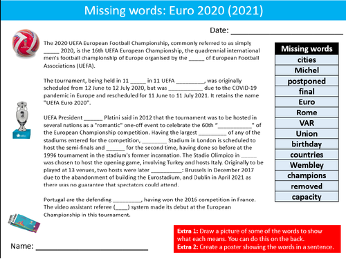 Football Euro 2020 (2021) Soccer Missing Words Cloze Sheet Activity Keywords PE Sports