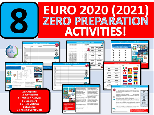 8 x Football Euro 2020 (2021) Soccer Worksheets Activity Keywords PE Sports Wordsearch