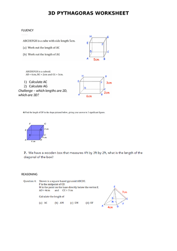 3D Pythagoras Worksheet