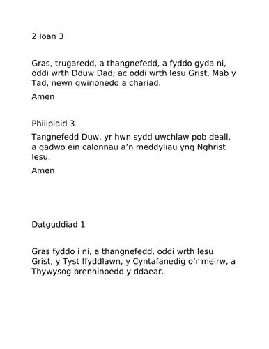 Gweddiau ar gyfer Gwasanaeth Ysgol - Cymraeg Iaith Gyntaf