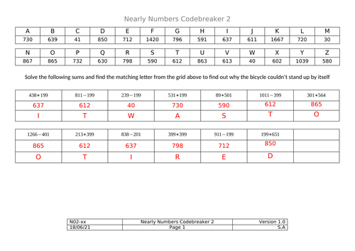 Codebreakers - Nearly Numbers Addition