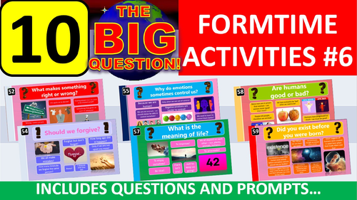 10 x The Big Question #6 Form Tutor Time Activity - Zero Preparation!