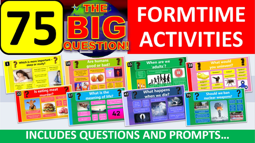 75 x The Big Question Form Tutor Time Activity - Zero Preparation! Whole Year