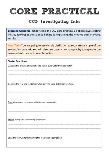 Edexcel CC2 Core Practical Revision- Investigating Inks