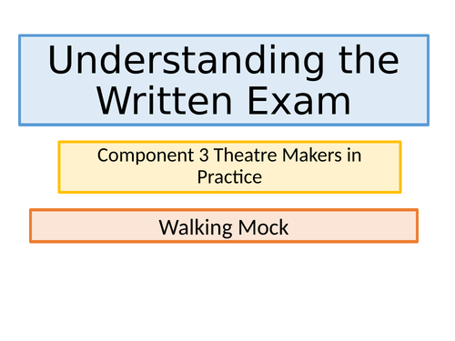 Walking Mock - GCSE EDEXCEL Drama - Written Paper, The Crucible and WIB