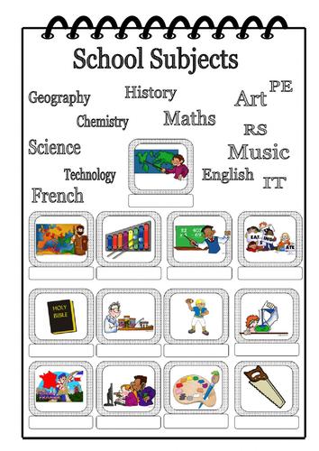 School Themed Vocab Worksheet ESL