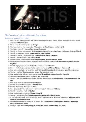 Limits of perception worksheet (documentary)