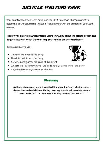 The Euros Football English Writing Article Writing Task