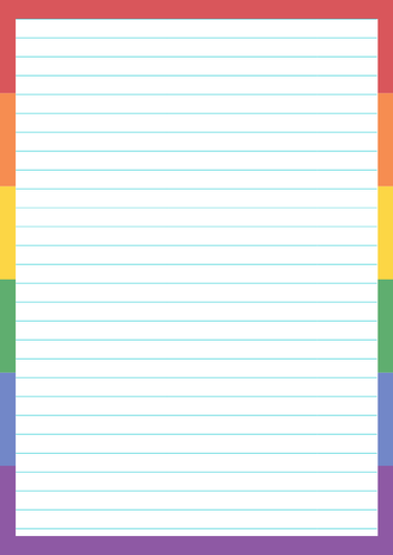 Pride Month Pages / Writing Colorful Rainbow Borders LGBTQ.  14 pages / 7 Designs.
