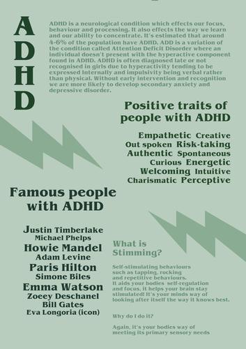 ADHD SEN NEEDS AWARENESS/INFORMATION KS3/KS4