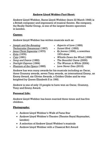 Andrew Lloyd Webber Fact Sheet