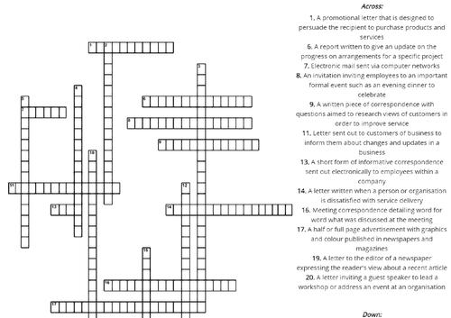 Types of Business Correspondence Crossword