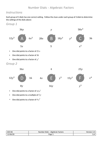 Dials - Algebraic Factors