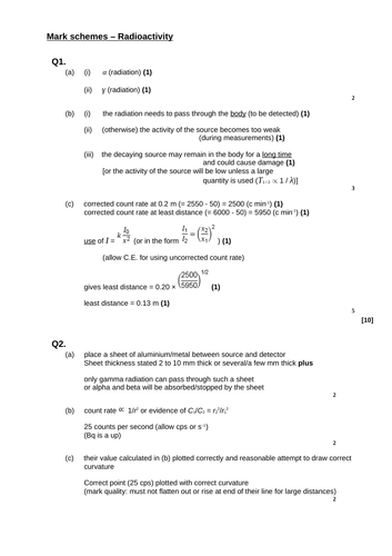 A level Physics - Nuclear physics (Chapter 26) Radioactivity - Assessment