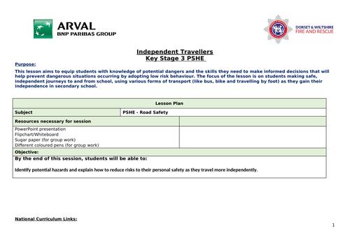 KS3 PSHE Road Safety: Independent Travellers