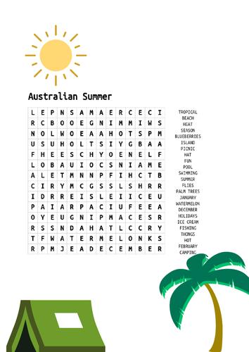 Australian Summer Word search