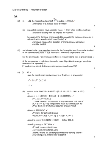 A level Physics - Nuclear physics (Chapter 27) Nuclear energy - Assessment