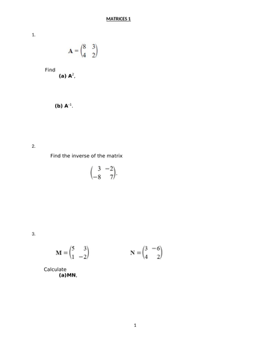 MATRICES WITH ANSWERS
