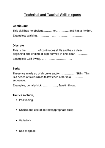 Unit 2 Practical Sports Performance (Technical/Tactical)
