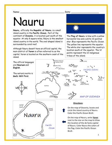 NAURU - Introductory Geography Worksheet