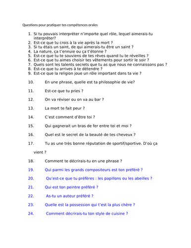 Questions to practise oral skills -French Advanced