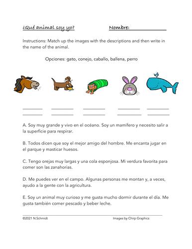 ¿Qué animal soy yo? Spanish Animals Worksheet