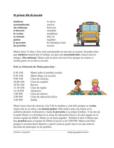 First Day of School Spanish Reading: Primer Día de la Escuela Lectura