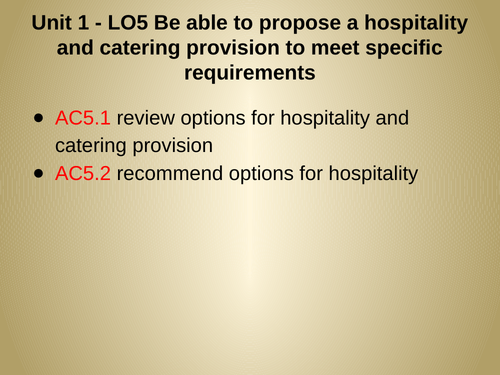WJEC Hospitality and Catering - Unit 1 LO 5 -