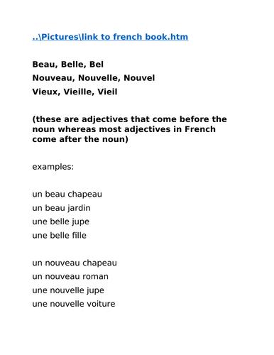French year 9 agreement of adjectives Nouveau, Nouvelle, Beau, Belle, Vieux, Vieille
