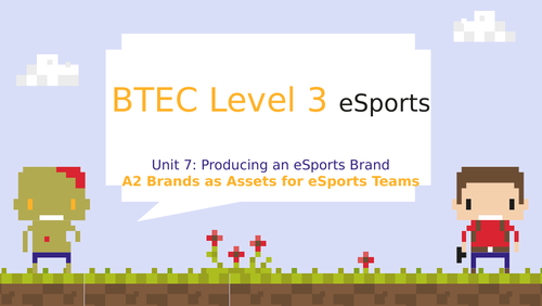 BTEC Level 3 eSports Unit 7: Producing an eSports Brand A2 Brands as Assets for eSports Teams
