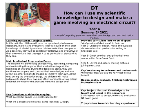 Year 4 DT & Science combi plan- Create an electrical circuit game