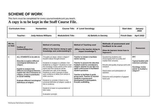 A2 Beliefs in Society Scheme of Work