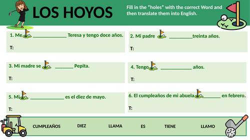 Los hoyos - fill in the gap