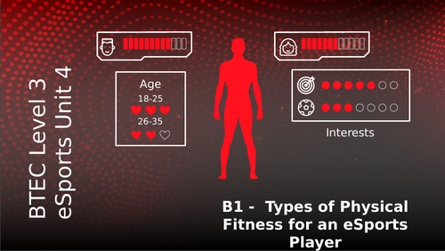 BTEC Level 3 eSports Unit 4: Health Wellbeing and Fitness for eSport Players B1 Types of Fitness