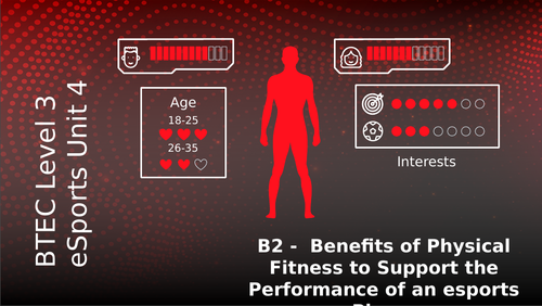 BTEC Level 3 eSports Unit 4: Health Wellbeing and Fitness for eSport Players B2 Benefits of Fitness