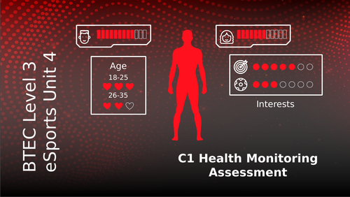 BTEC Level 3 eSports Unit 4: Health Wellbeing and Fitness for eSport Players C1 Health Monitoring