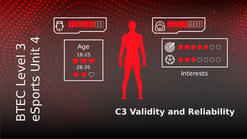 BTEC Level 3 eSports Unit 4: Health Wellbeing and Fitness for eSport Players C3 Validity/Reliability