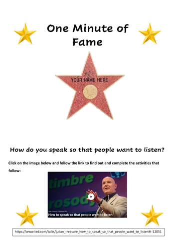 15 Minutes of Fame Speech Activity