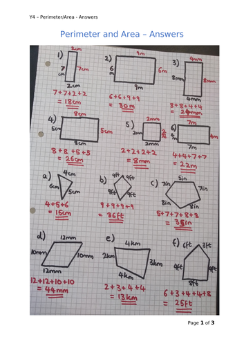 Y4 Maths - Perimeter and Area