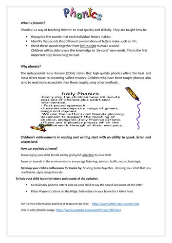 Phonics information sheet for parents