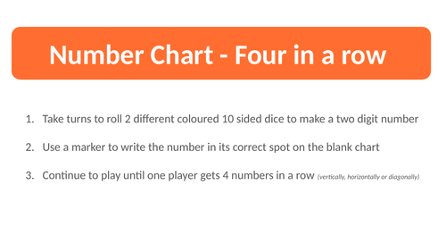 100 Chart - Four in a Row
