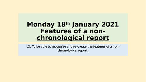 Non chronological reports Unit Year 5