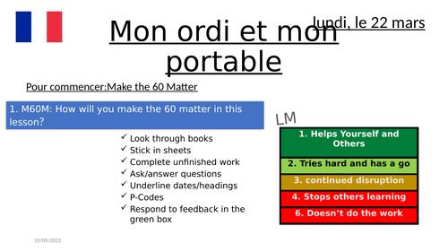 Mon ordi et mon portable French KS3 studio 1 module 3.1