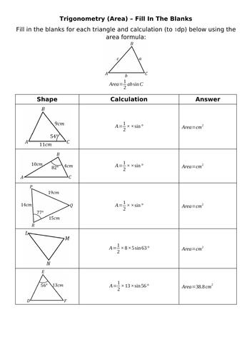 Trigonometry (Area) - Fill In The Blanks