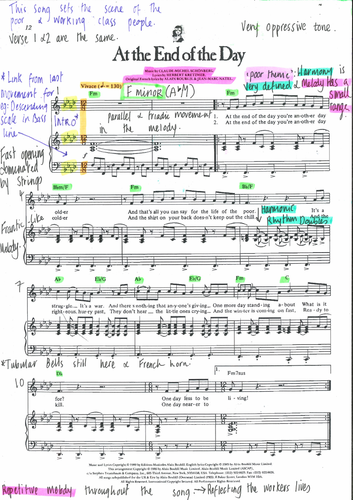 At the End of The Day - Les Misérables Annotated Score