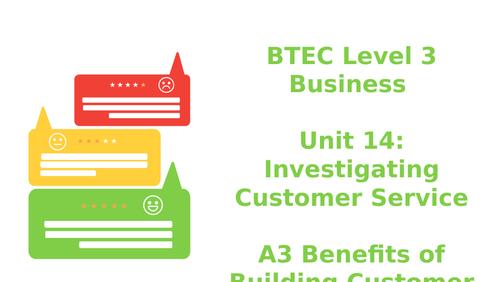 BTEC Level 3 Business Unit 14: Investigating Customer Service A3 Building Customer Relationships