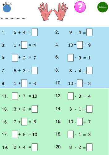 Add & Subtract to 10 : Worksheets