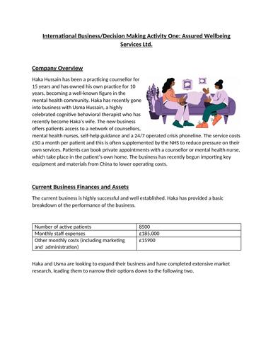 BTEC Level 3 Business Unit 7: Business Decision Making Mock Assessment - Mental Health