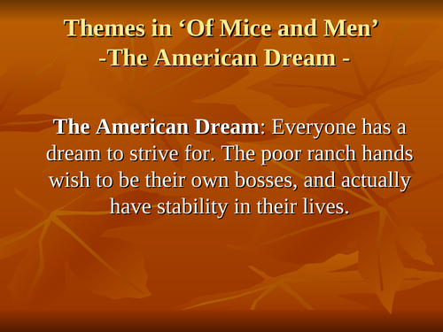 Of Mice and Men: The American Dream